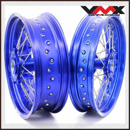 VMX 3.5/5.0 Supermoto Wheels Set Fit SHERCO  SER & SEF (All) Blue Rim