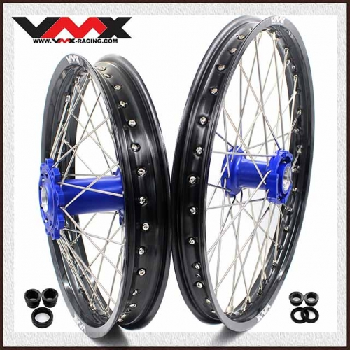 VMX 21/18 Wheels Rim Fit TM Bike 125-530 2015-2020 Blue Hub