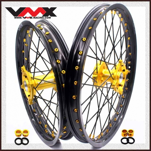 VMX 21/19 Wheels Set Fit SUZUKI RMZ250  RMZ450 Gold Nipple Black Spoke