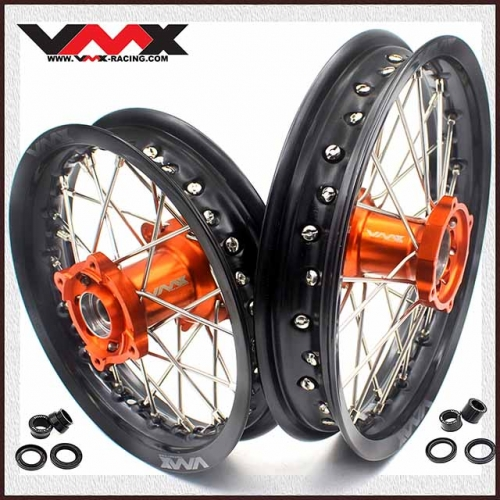 VMX 12/10 Kid's Wheel Fit KTM SX 50 Orange Hub Black Rim