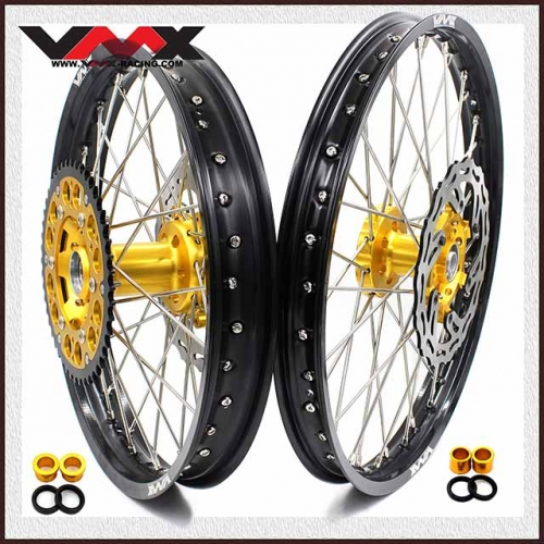 VMX 21/18 Complete Wheel Set Fit SUZUKI RMZ250 RMZ450 2005-2020 Gold