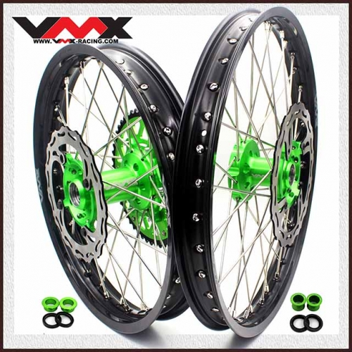 VMX 21/19 MX Wheels Set With Disc Fit KAWASAKI KX250F KX450F 2006-2020 Green Hub