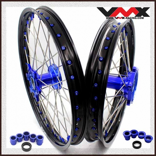 VMX 21/19 MX Casting Wheel Set Fit YAMAHA YZ 250F 450F YZ 125 250 Blue Nipple