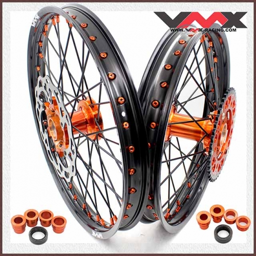 VMX 21/18 Enduro Casting Wheels Set Compatible with KTM EXC 125 530 Orange/Black With Disc