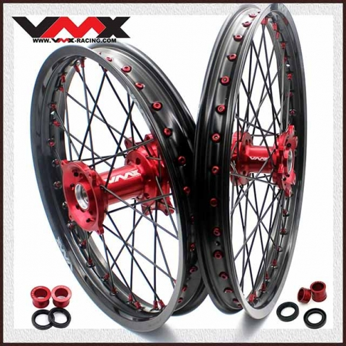 VMX 21/19 MX Wheels Set Fit HONDA CRF250R 2019 CRF450R 2020 Red/Black