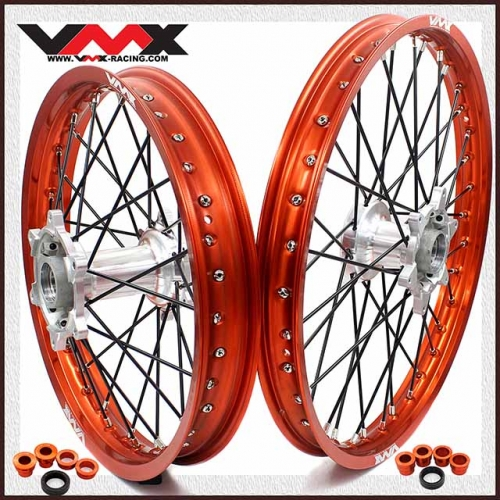 VMX 21/18 Enduro Casting Wheels Set Fit SX-F 200 250 450 Orange Rim