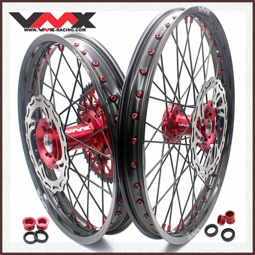 VMX 21/19 MX Complete Wheels Set Fit HONDA CRF250R 2014 CRF450R 2019 Red/Black