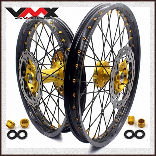 VMX 21/19 Complete Wheel Set Fit SUZUKI RMZ250  RMZ450 Gold Nipple Black Spoke