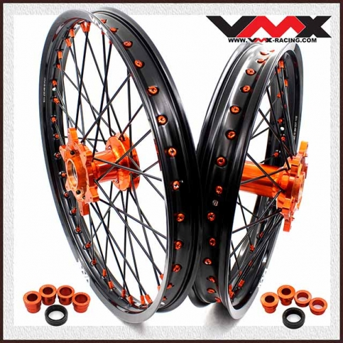 VMX 21/18 Enduro Casting Wheel Set Compatible with KTM EXC SXF  250 530 Orange Nipple Black spoke
