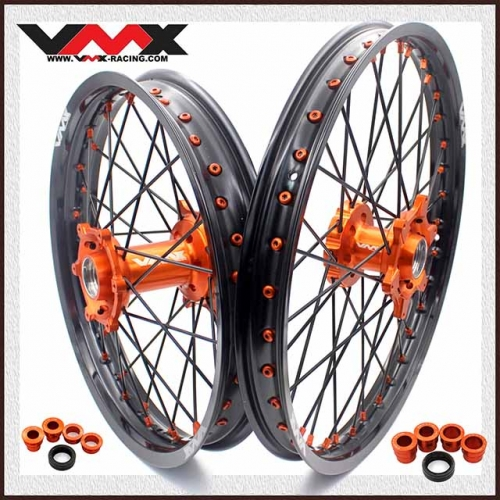 VMX ENDURO WHEELS 21/18 FIT KTM EXC EXC-R XCW-F 200 250 300 500 BLACK SPOKE