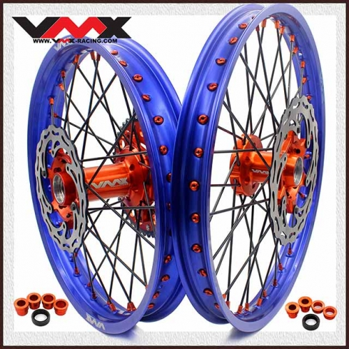 VMX 21/19 OUTLET COMPLETE MX WHEELS  FOR KTM SX SX-F 250 450 BLUE RIMS 2020
