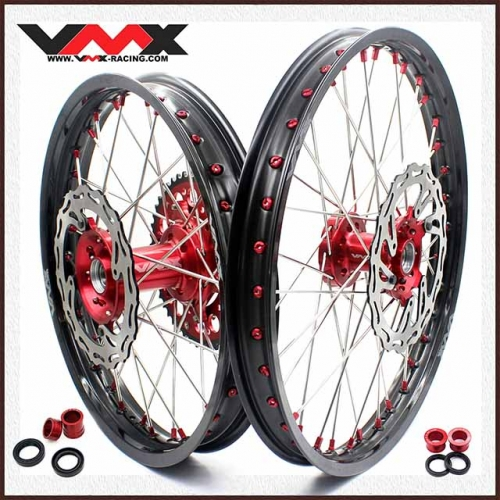VMX COMPLETE OUTLET WHEELS SET 21/19 FOR HONDA CRF250R 2004-2013 CRF450R 2002-2012 RED NIPPLE