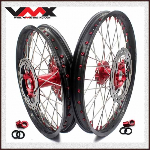 VMX 21/19 OUTLET COMPLETE WHEELS SET FOR SUZUKI RMZ250 RMZ450 RED NIPPLE