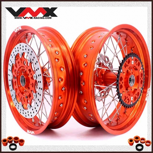 VMX 3.5/5.0 Complete Supermoto Wheels Orange Rim Compatible with KTM EXC SX  EXC XC-W 200 400 530