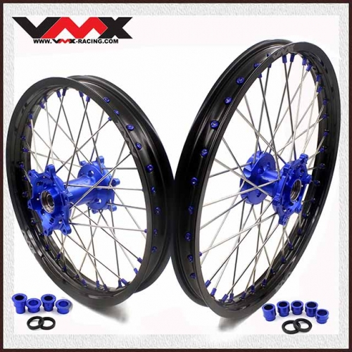 VMX 21/19 OUTLET WHEELS SET FOR YAMAHA WR250F WR450F 2019 BLUE NIPPLE