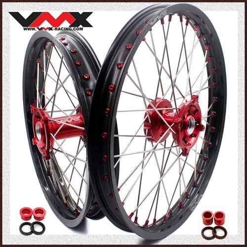VMX 21/19 OUTLET WHEELS SET FOR SUZUKI RMZ250 RMZ450 2005-2019 RED NIPPLE