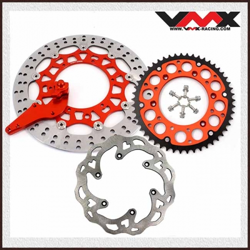 VMX FRONT AND REAR DISC ROTORS ADAPTER BRACKET SPROCKET FOR KTM SX-F EXC 2018 ORANGE