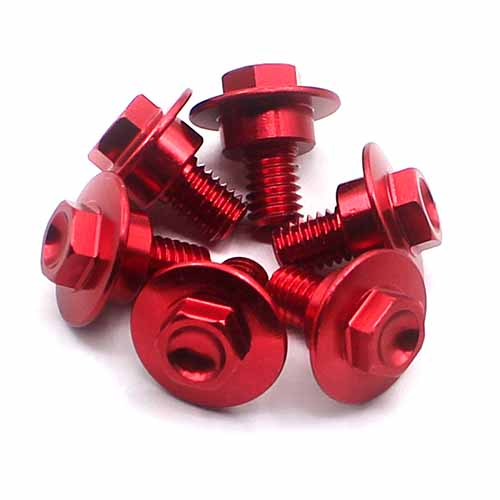 CNC FRONT FORK GUARD BOLTS SCREW FIT HONDA CR125/250 CRF250R/250X 04-16,CRF450R 02-16 RED 6 PCS