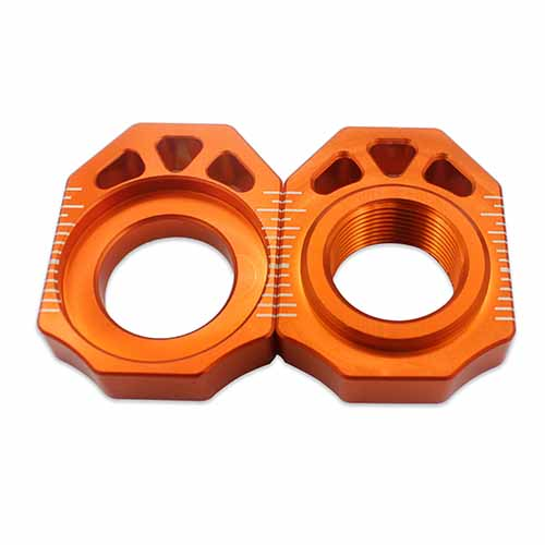 KTM CNC AXLE BLOCKS CHAIN ADJUSTER FOR SX SXF XC XCF 125-450 ORANGE 25MM
