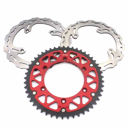 FRONT 250MM REAR 240MM DISC WITH REAR SPROCKET RED FIT SUZUKI RMZ