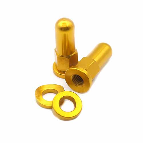 CNC BILLET VALVE CAP / RIM LOCK COVER NUT WASHER SPACER KIT GOLD