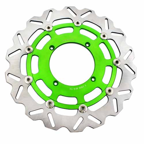 KAWASAKI 320MM GREEN OVERSIZE FLOATING DISC ROTORS FOR KX KXF