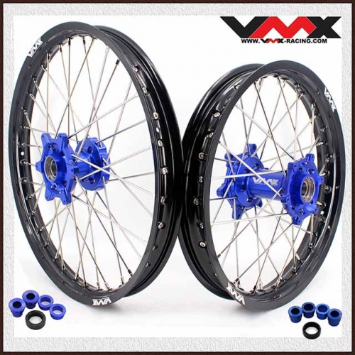 VMX 21/18 Enduro Wheel Set Compatible with KTM EXC XCW-F 125 200 300 400  2003-2020 Blue Hub