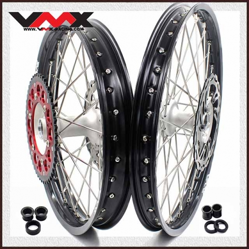 VMX 21/19 MX Casting Wheel Set Fit HONDA CRF250R 2004-2013 CRF450R 2002-2012 Silver