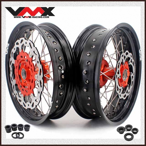 VMX 3.5/5.0 Motorcycle Supermoto Cush Drive Wheel Fit KTM690  SMC Orange Hub With Disc