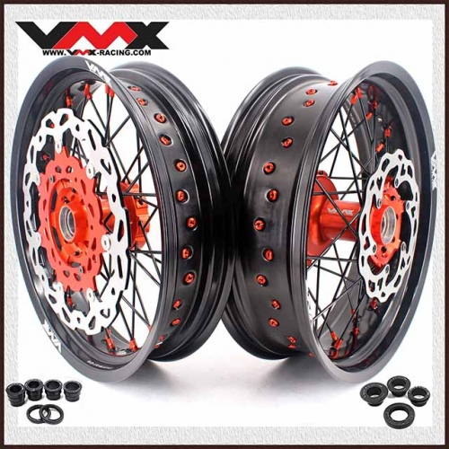 VMX 3.5/5.0 Motorcycle Supermoto Cush Drive Wheel Disc Fit KTM690 SMC Orange Nipple Black Spoke