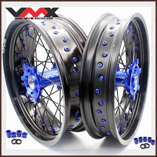 VMX 3.5/5.0 Supermoto Wheels Fit YAMAHA YZ 250F 450F YZ 125 250 Blue Nipple  Black Spoke