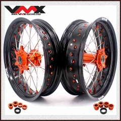 VMX 3.5/5.0 CASTING SUPERMOTO WHEELS RIMS  FOR KTM SX-F EXC 250 300 450 ORANGE NIPPLE AND HUB