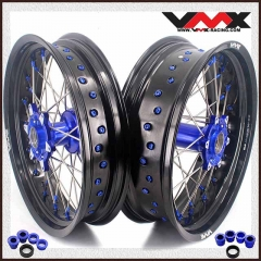 VMX 3.5/5.0 Casting Supermoto Wheels Rims Compatible with KTM SX-F EXC 250 300 450 Blue Nipple and Hub