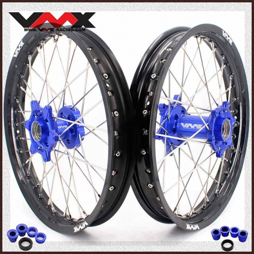 "VMX 1.85*19""/2.15*19""  Flat Track Wheels Set Compatible with KTM EXC XCW SX 250 300 2020 Blue Hub"