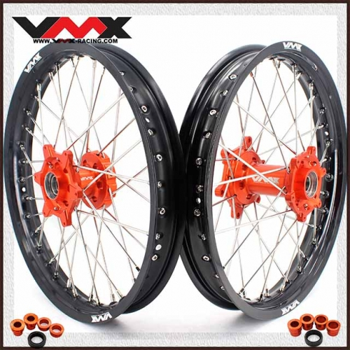 "VMX 1.85*19""/2.15*19""  Flat Track Wheels Set Compatible with KTM EXC XCW-F 250 300 2020 Orange Hub"