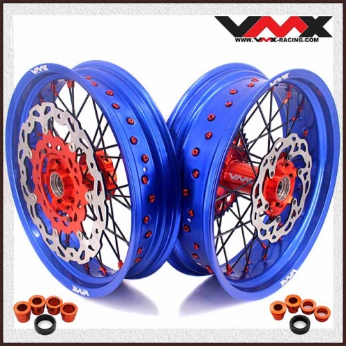 VMX Complete Supermoto Wheels Blue Rim Compatible with KTM  EXC SX-F EXC 250 350 Orange Nipple
