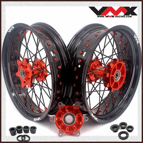 VMX 3.5/5.0 Supermoto Cush Drive Wheel Fit KTM 690 SMC With Disc Orange Nipple Black Spoke