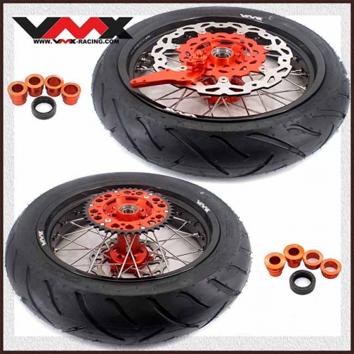 VMX 3.5/4.25 Motorcycle Supermoto Wheels With Tire Fit KTM SX EXC 125 250 450 Orange Hub