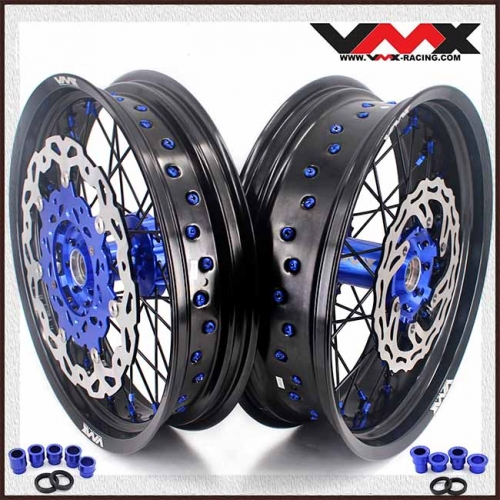 VMX 3.5/5.0 Complete Supermoto Wheels Fit YAMAHA YZ 250F 450F YZ 125 250 Blue/Black