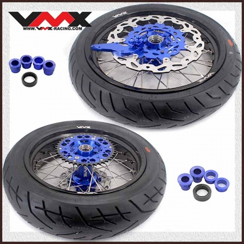 VMX 3.5/5.0 Supermoto Wheels With CST Tire Compatible with KTM EXC SX-F EXC-R XC-F 125 530 250 450 Blue 2003-2020