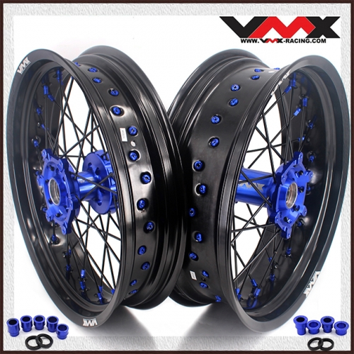 VMX 3.5/5.0 Motorcycle  Supermoto Wheels Fit YAMAHA YZ 250F 450F YZ 125 250 Blue Nipple  Black Spoke