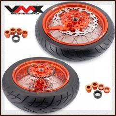 VMX 3.5/5.0 Supermoto Wheels Orange Rim With CST Tire Fit KTM EXC SXF EXC-R XC-F 125 530 250 450 2003-2020