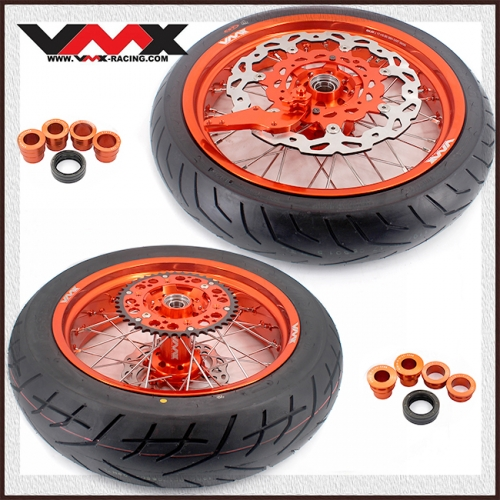VMX 3.5/5.0 Supermoto Wheels Orange Rim With CST Tire Compatible with KTM EXC SXF EXC-R XC-F 125 530 250 450 2003-2020