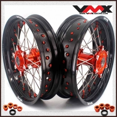 VMX 3.5/5.0 Casting Supermoto Wheels Rims Fit SX-F EXC 250 300 450 Orange Nipple and Hub