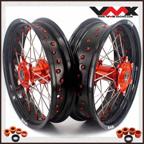 VMX 3.5/5.0 Casting Supermoto Wheels Rims Compatible with KTM SX-F EXC 250 300 450 Orange Nipple and Hub