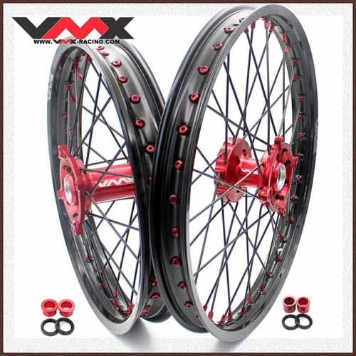 VMX 21/19 MX Wheels Rim Fit SUZUKI RMZ250 RMZ450 Red Hub Red Nipple Black Rim/Spoke