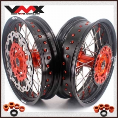 VMX 3.5/5.0 Casting Supermoto Wheels Rims Compatible with KTM SX-F EXC 250 300 450 Orange Nipple With Disc