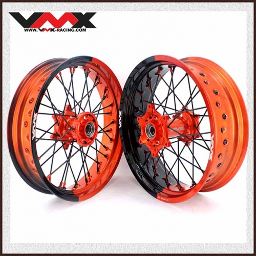 VMX 3.5/5.0 Supermoto Two-tone Wheels Compatible with KTM Orange Hub  Orange/Black  Rim Black Spoke  Orange/Black Nipple