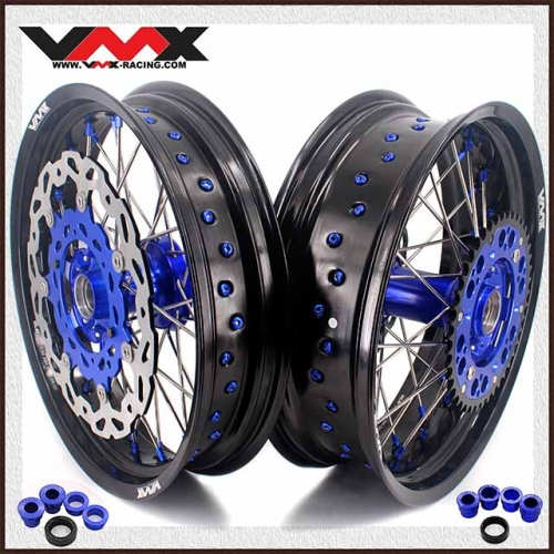 VMX 3.5/5.0 Casting Supermoto Wheels Compatible with KTM EXC SXF 250 300 450 Blue Hub/Nipple With Disc