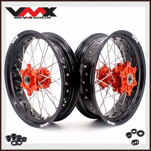 VMX 3.5/4.5 Motorcycle Supermoto Cush Drive Wheels Compatible with KTM EXC XCW 250 350 450 Orange